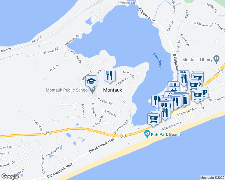 map of restaurants, bars, coffee shops, grocery stores, and more near in Montauk