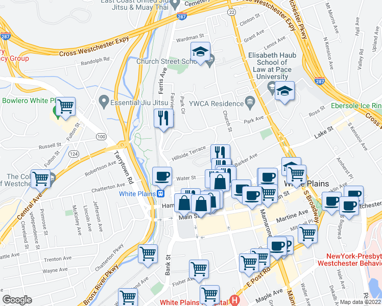 map of restaurants, bars, coffee shops, grocery stores, and more near Hillside Terrace in White Plains
