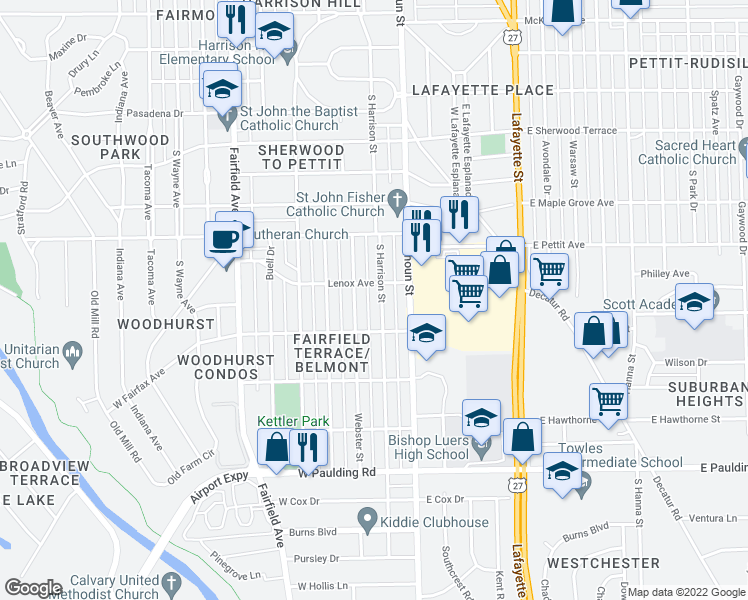 map of restaurants, bars, coffee shops, grocery stores, and more near 5010 South Harrison Street in Fort Wayne