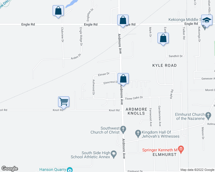 map of restaurants, bars, coffee shops, grocery stores, and more near 3933 Elmcrest Drive in Fort Wayne