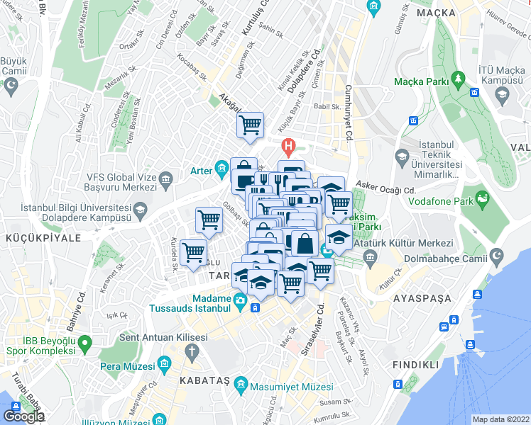 map of restaurants, bars, coffee shops, grocery stores, and more near Duvarcı Adem Sokak in Beyoğlu
