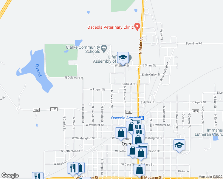 map of restaurants, bars, coffee shops, grocery stores, and more near 466-500 North Jackson Street in Osceola