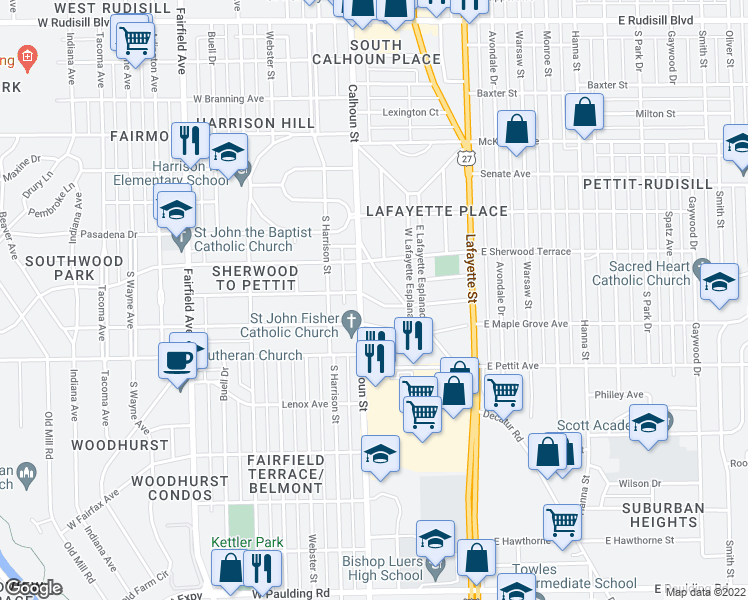 map of restaurants, bars, coffee shops, grocery stores, and more near East Fleming Avenue in Fort Wayne