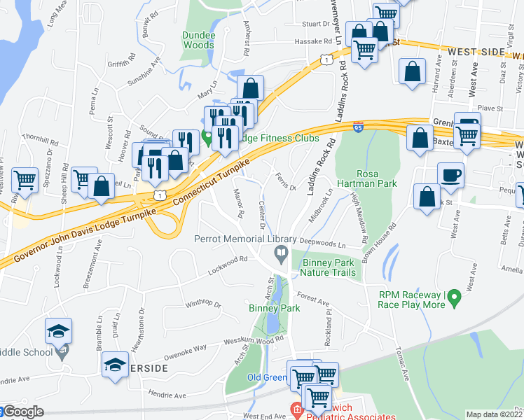 map of restaurants, bars, coffee shops, grocery stores, and more near Center Drive in Greenwich