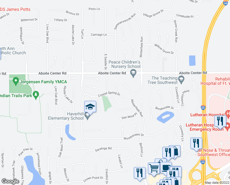 map of restaurants, bars, coffee shops, grocery stores, and more near 9328 Crystal Spring Drive in Fort Wayne