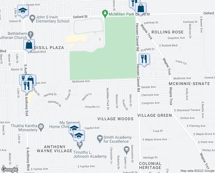 map of restaurants, bars, coffee shops, grocery stores, and more near McMillen Park Drive in Fort Wayne