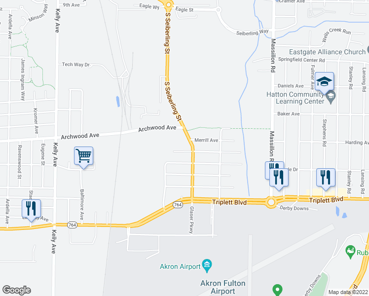 map of restaurants, bars, coffee shops, grocery stores, and more near 1511 Hobart Avenue in Akron
