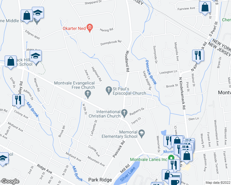 map of restaurants, bars, coffee shops, grocery stores, and more near 2 Stag Hill Road in Montvale