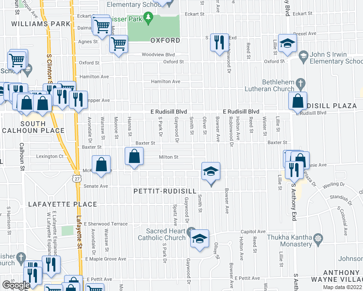 map of restaurants, bars, coffee shops, grocery stores, and more near 1006 Baxter Street in Fort Wayne