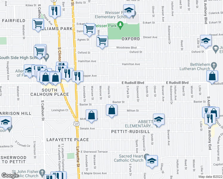 map of restaurants, bars, coffee shops, grocery stores, and more near 3921 Hanna Street in Fort Wayne