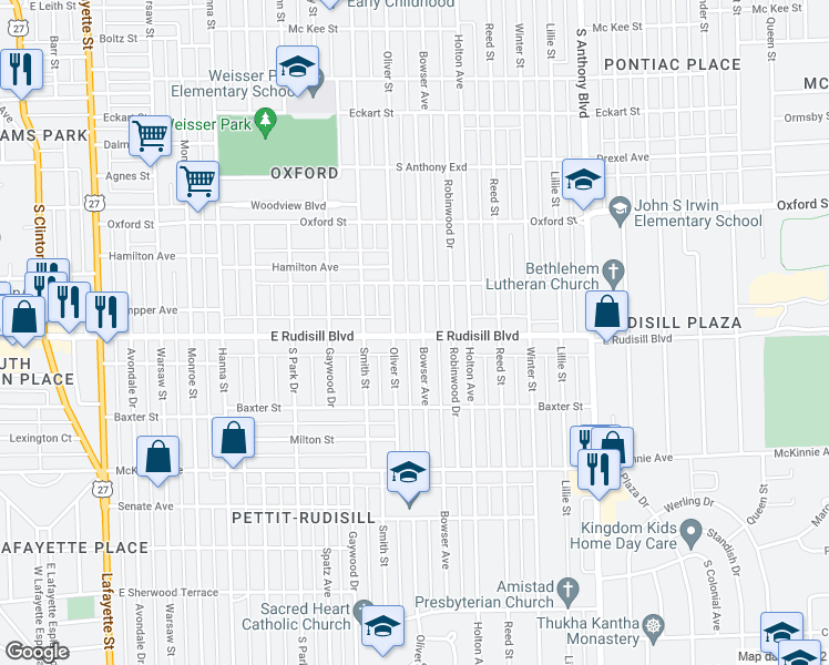 map of restaurants, bars, coffee shops, grocery stores, and more near 1219 East Rudisill Boulevard in Fort Wayne