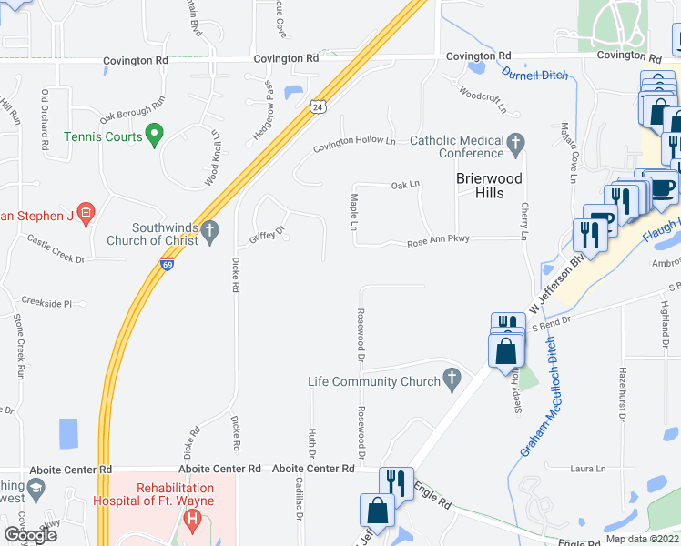 map of restaurants, bars, coffee shops, grocery stores, and more near 3512 Rosewood Drive in Fort Wayne