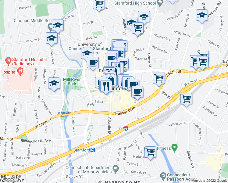 map of restaurants, bars, coffee shops, grocery stores, and more near in Stamford