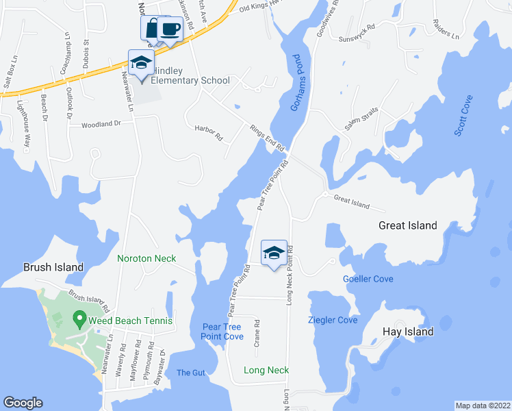 map of restaurants, bars, coffee shops, grocery stores, and more near 37 Pear Tree Point Road in Darien