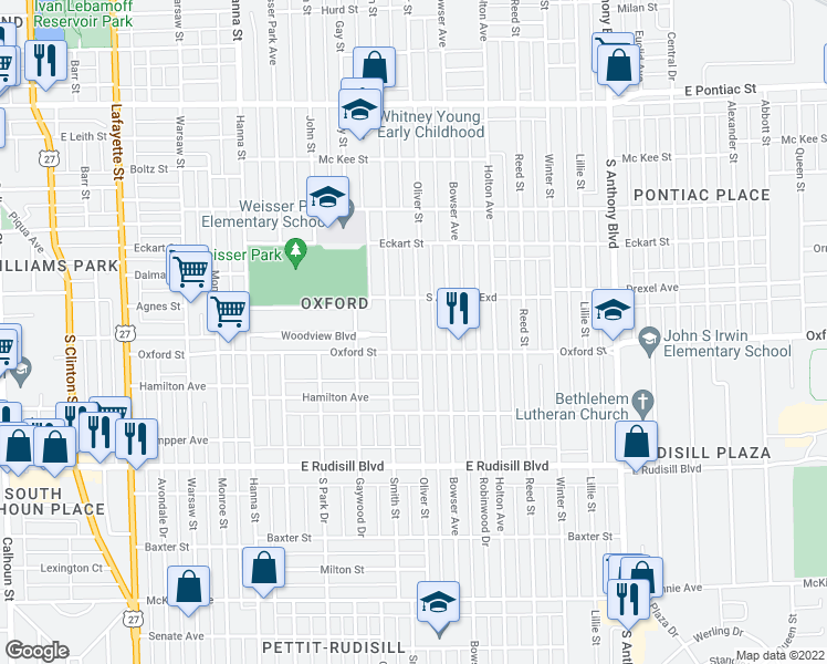 map of restaurants, bars, coffee shops, grocery stores, and more near 3406 Oliver Street in Fort Wayne