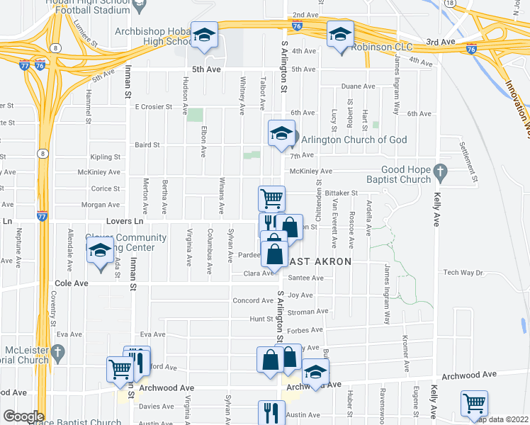 map of restaurants, bars, coffee shops, grocery stores, and more near 647 Talbot Avenue in Akron