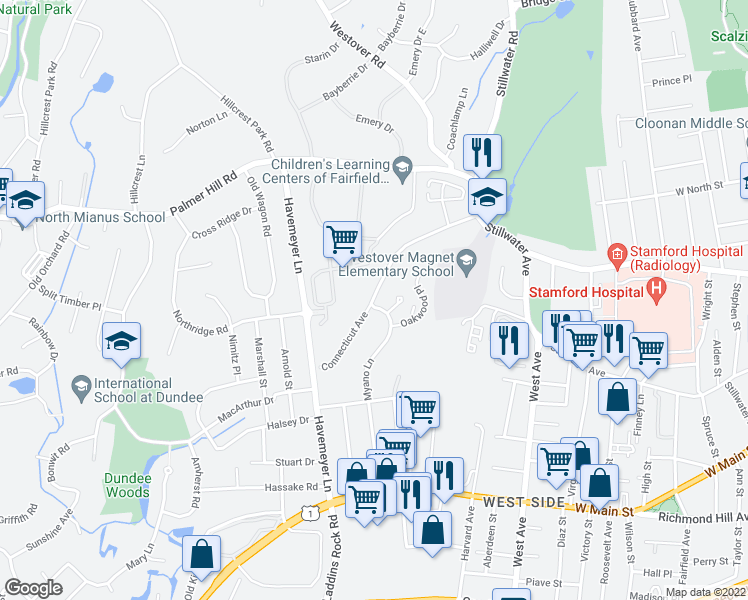 map of restaurants, bars, coffee shops, grocery stores, and more near 118 Connecticut Avenue in Stamford