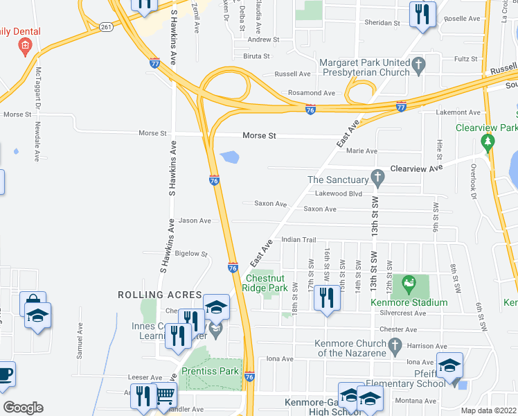 map of restaurants, bars, coffee shops, grocery stores, and more near 1036 Saxon Avenue in Akron