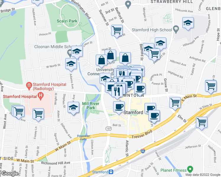 map of restaurants, bars, coffee shops, grocery stores, and more near 1 University Pl in Stamford