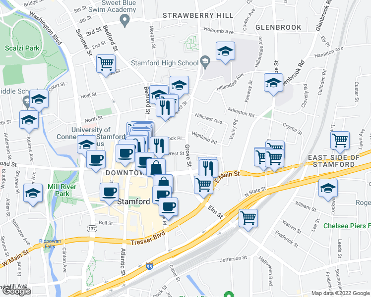 map of restaurants, bars, coffee shops, grocery stores, and more near 70 Forest Street in Stamford