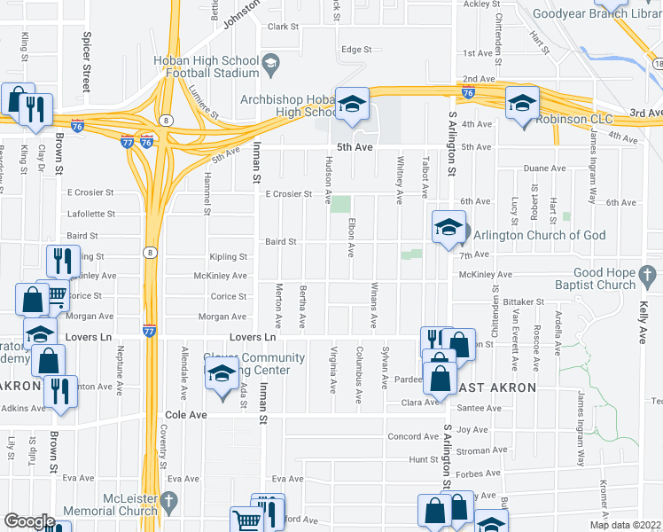 map of restaurants, bars, coffee shops, grocery stores, and more near 677 Hudson Avenue in Akron