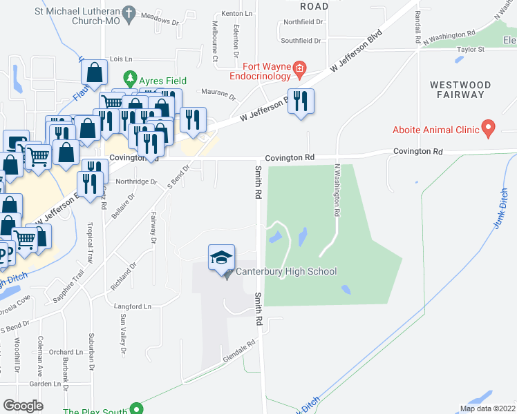 map of restaurants, bars, coffee shops, grocery stores, and more near 2941 Smith Road in Fort Wayne