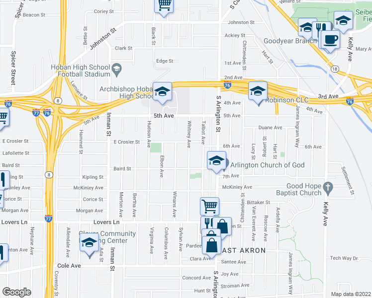 map of restaurants, bars, coffee shops, grocery stores, and more near 478 Whitney Avenue in Akron