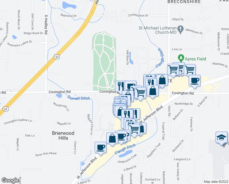 map of restaurants, bars, coffee shops, grocery stores, and more near 6527 Covington Road in Fort Wayne