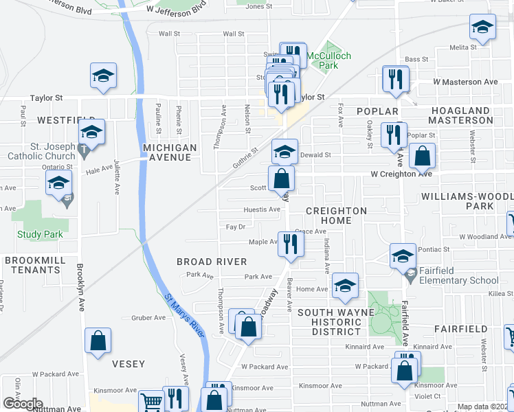map of restaurants, bars, coffee shops, grocery stores, and more near 1240 Huestis Avenue in Fort Wayne