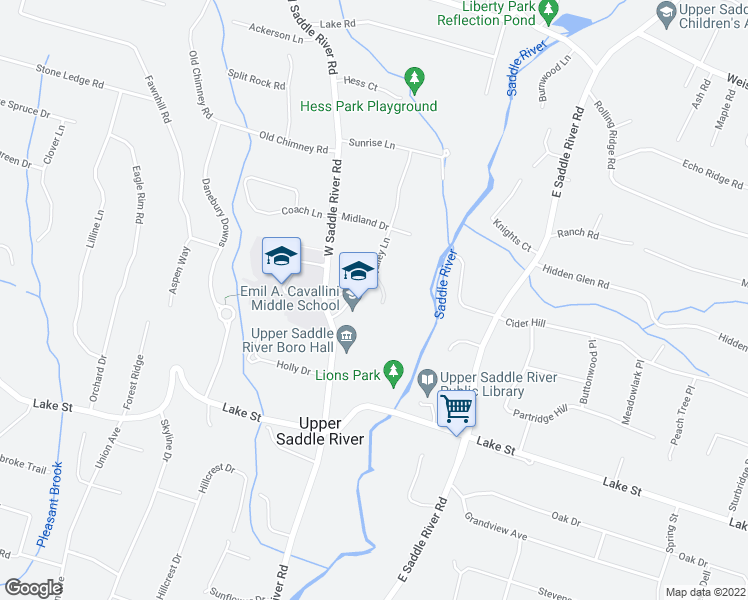 map of restaurants, bars, coffee shops, grocery stores, and more near 392 West Saddle River Road in Upper Saddle River