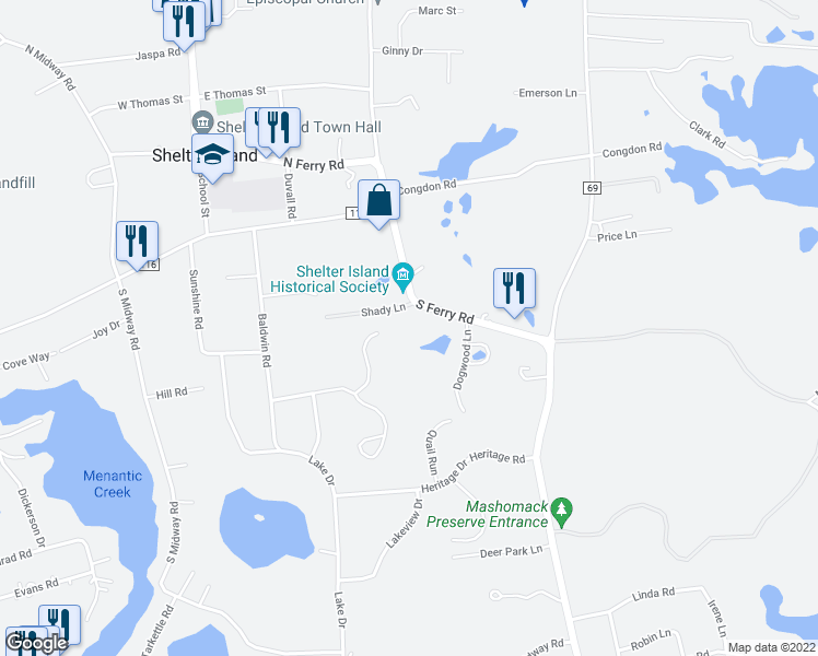 map of restaurants, bars, coffee shops, grocery stores, and more near 20 South Ferry Road in Shelter Island