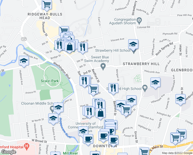 map of restaurants, bars, coffee shops, grocery stores, and more near 1441 Bedford Street in Stamford