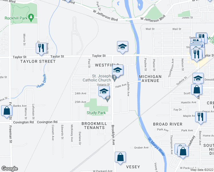 map of restaurants, bars, coffee shops, grocery stores, and more near 2001 Ontario Circle in Fort Wayne