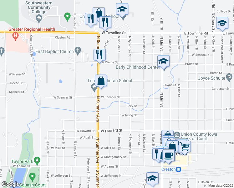map of restaurants, bars, coffee shops, grocery stores, and more near 804 North Spruce Street in Creston