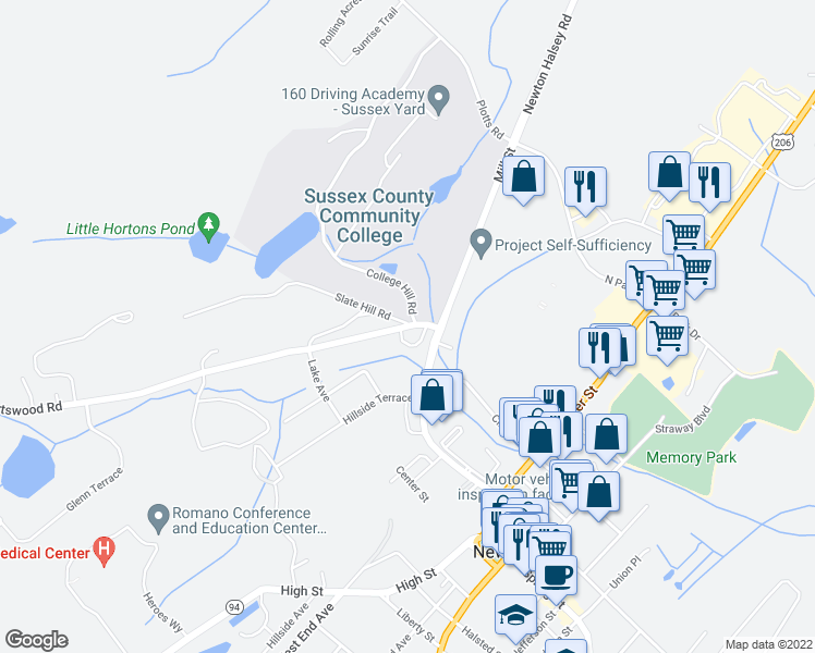 map of restaurants, bars, coffee shops, grocery stores, and more near Statehill Road in Newton