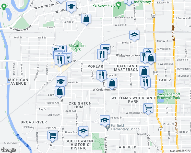 map of restaurants, bars, coffee shops, grocery stores, and more near 617 Poplar Street in Fort Wayne