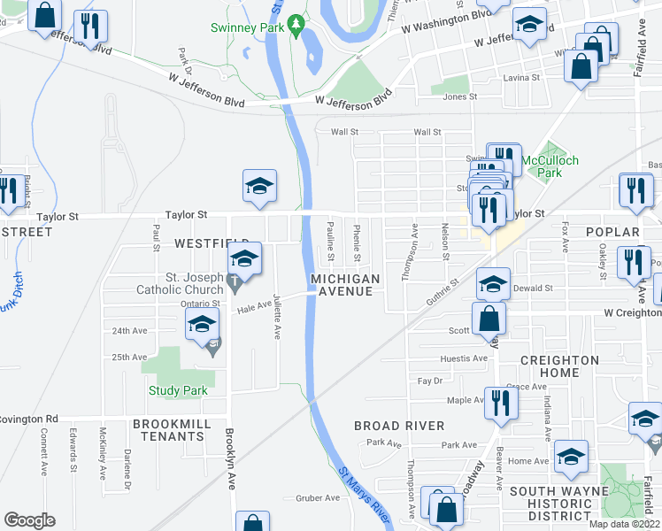 map of restaurants, bars, coffee shops, grocery stores, and more near Pauline Street in Fort Wayne