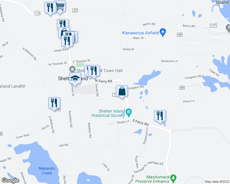 map of restaurants, bars, coffee shops, grocery stores, and more near 37 North Ferry Road in Shelter Island