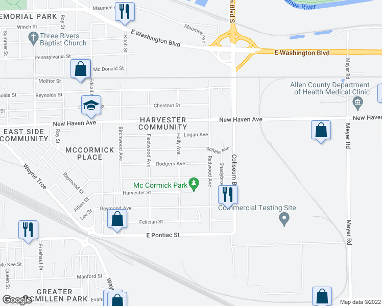 map of restaurants, bars, coffee shops, grocery stores, and more near 3624 Schele Avenue in Fort Wayne