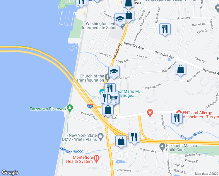 map of restaurants, bars, coffee shops, grocery stores, and more near 300 South Broadway in Tarrytown
