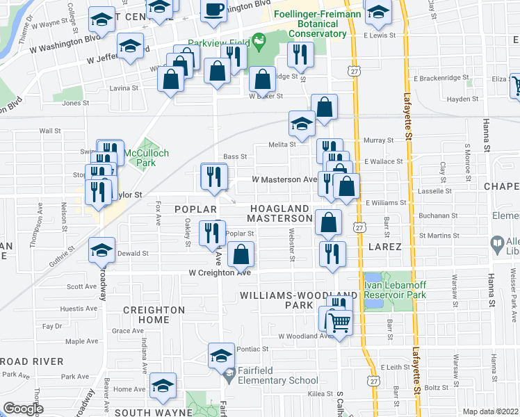 map of restaurants, bars, coffee shops, grocery stores, and more near 341 West Williams Street in Fort Wayne