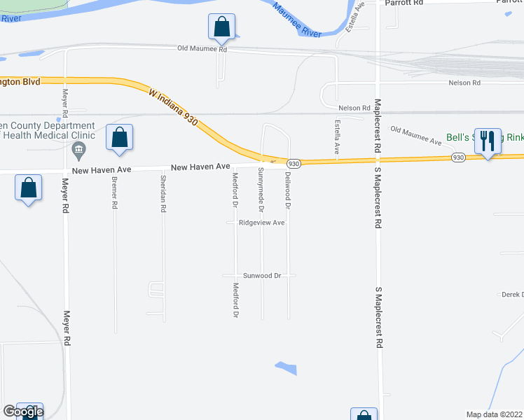 map of restaurants, bars, coffee shops, grocery stores, and more near Sunnymede Drive in Fort Wayne