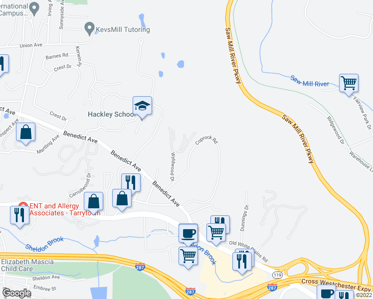 map of restaurants, bars, coffee shops, grocery stores, and more near 42 Trailhead Lane in Tarrytown