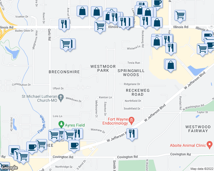 map of restaurants, bars, coffee shops, grocery stores, and more near Edenton Drive in Fort Wayne