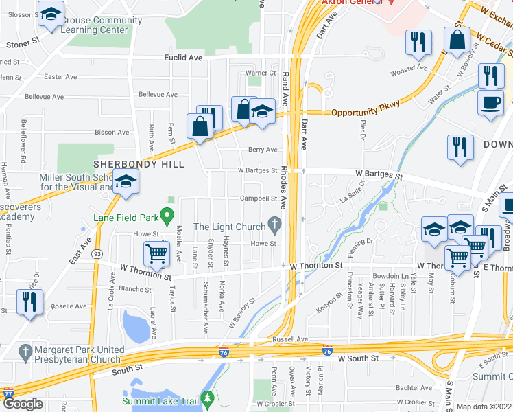 map of restaurants, bars, coffee shops, grocery stores, and more near 928 Nathan Street in Akron