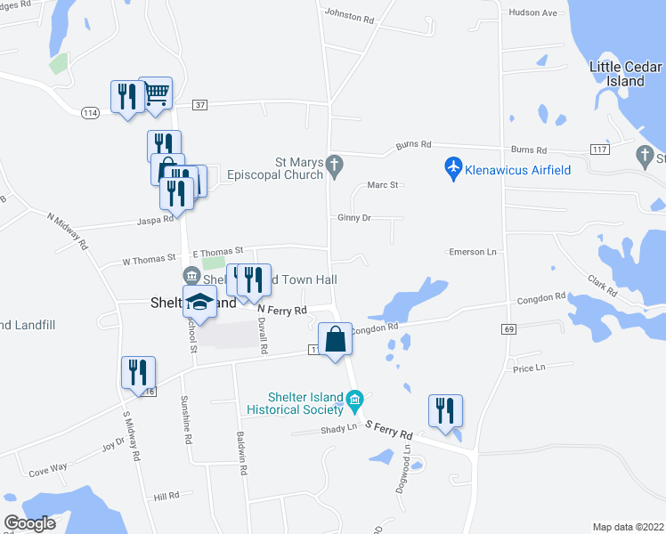 map of restaurants, bars, coffee shops, grocery stores, and more near 10 Saint Mary's Road in Shelter Island