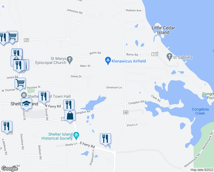 map of restaurants, bars, coffee shops, grocery stores, and more near 7 Emerson Lane in Shelter Island