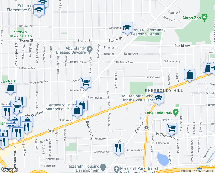 map of restaurants, bars, coffee shops, grocery stores, and more near Herman Avenue in Akron