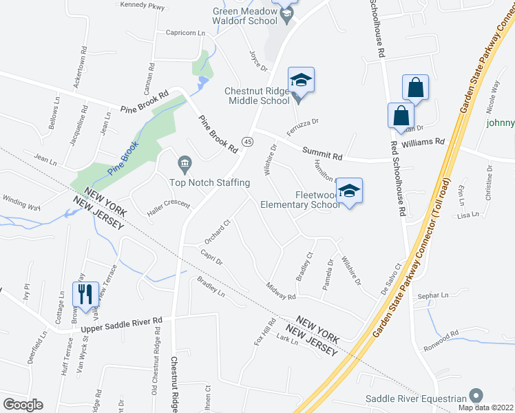 map of restaurants, bars, coffee shops, grocery stores, and more near Spring Hill Terrace in Chestnut Ridge