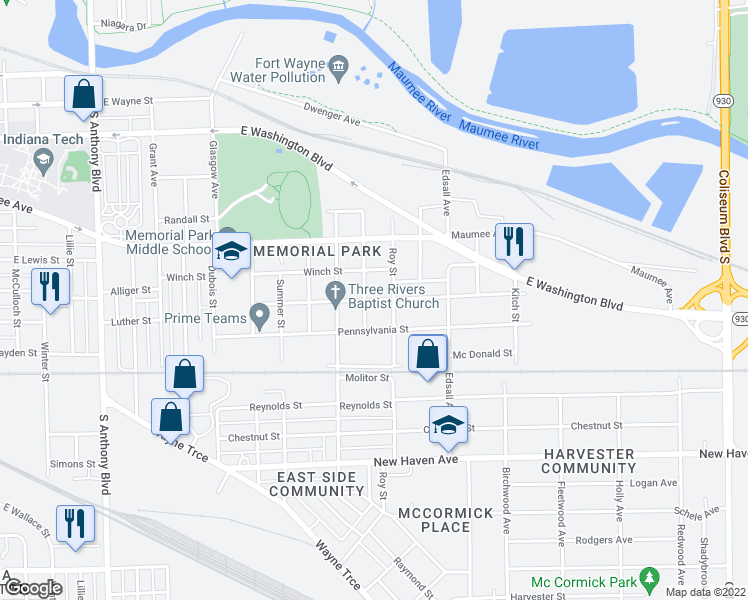 map of restaurants, bars, coffee shops, grocery stores, and more near Pittsburg St in Fort Wayne